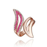 DUMAN 18K Rose Gold Plated White Rose Double Lines Rhinestones Wings Ring Swarovski Elements Crystal, Size 8