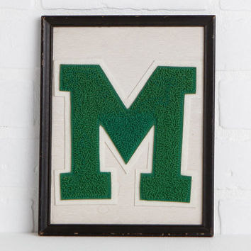 """Vintage M Initial Picture, Chippy Black Framed Varsity Letter M on White Background 9 3 x4"""" x 7 3/4 Cottage Chic Meets Prep"""