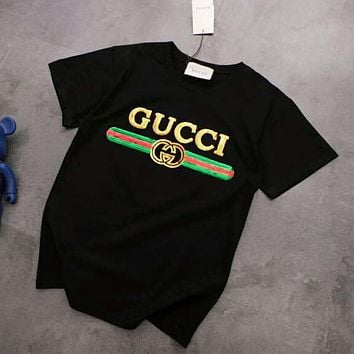 GUCCI Summer Fashion Women Men Leisure Sequins T-Shirt Top Blouse Black