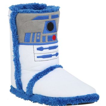 Licensed cool Star Wars R2D2 Droid Women Slippers Boots Plush House Shoes 4 Inside Or Outside