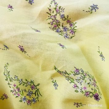 SALE! Designer 100% Cotton Canary Yellow Floral Fine Woven Fabric- By the yard