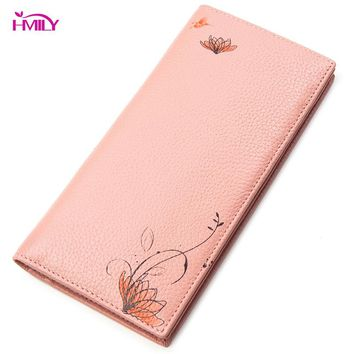 HMILY Women Wallets Genuine Leather Flower Pattern Long Purse Female Trendy Sweet Card Holder Zipper Coin Pocket Natural Leather
