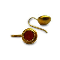 Gold Dangle Earrings With Red Agate Gemstone, Antique style,gift for woman,vintage earrings, classic style, Gold jewelry, maroon earrings