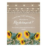 Will you be my Bridesmaid | Rustic Sunflower Card