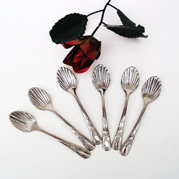 Demitasse Spoon Set, Godinger,  Silver Coffee Spoons, Seashell, Silverplate