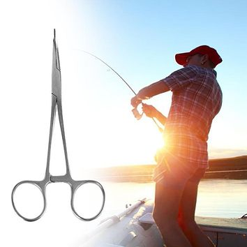 Stainless Steel Fishing Scissors Fish Hook Bait Pliers Line Cutter Remover Curved Tip Clamps Fishing Locking Forceps Accessories FREE SHIPPING