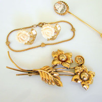 Vtg Gold Filled Lot Ricmar Reis Brooch Earrings Child's Bracelet Scrimshaw Pin
