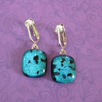 Dichroic Teal Clip On Earings, Drop Clip Earrings, Costume Jewelry - Brea - 1048 -1