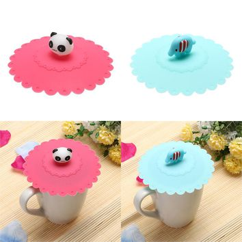 1pc Lovely Anti-dust Silicone Fruit Cup Cover Leakproof Coffee Lid Cap Airtight Sealed Cup Cover Panda/Elephant Pattern Cup Lid