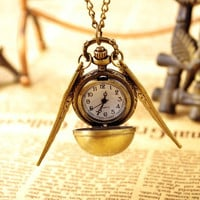 Vintage Bronze Punk Steampunk Quartz Pocket Watch Pendant Chain Necklace VVF = 1956720388