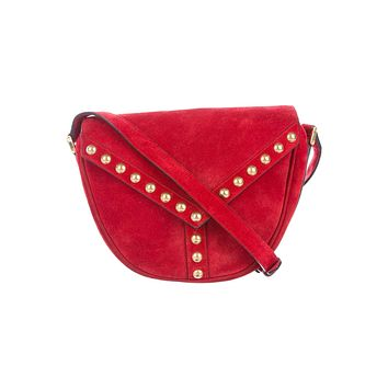 Saint Laurent YSL Y Studded New Red Besace Suede Saddle Bag Crossbody 439143
