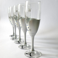 Bridal shower party champagne glasses Hand painted , silver , crystals,  bridesmaids dresses