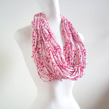 Valentines Day Pastel Pink Infinity Scarf Red White Geometric Stripes Upcycled Clothing Feminine Cowl Scarf Winter Accessories
