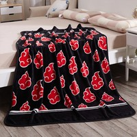 Naruto Sasauke ninja 150X120cm Anime One Piece  Akatsuki Plush Soft Stuffed Red Cloud Unisex Creative Travel Warm Bed Knee Single Blanket AT_81_8