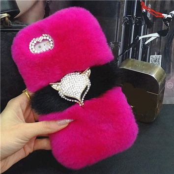 Rabbit fur diamond fox phone case cover for iPhone 6 6s 7 8 plus X XS max XR for Samsung galaxy s6 s7 edge s8 s9 plus note 8 9