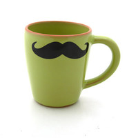 Mustache mug moustache mug in avacado green with terra cotta kiln fired
