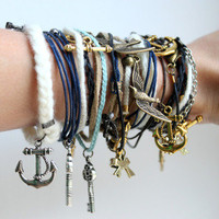 5pcs random of leather anchor love bird bow key bracelets [kz139] - $6.99 : Supply super low prices fashion jewelry and costume jewelry--Favor21.com