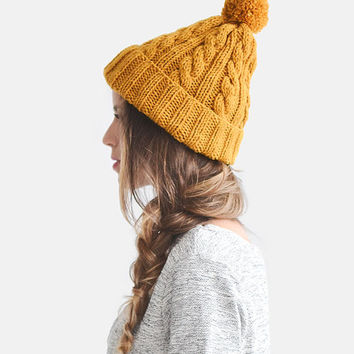 Hand Knit Beanie in Mustard Yellow, Cable Knit Womens Winter Hat with Pom Pom, Unisex Ski Hat, Mens Wool Hat, Custom Color / Hand Knitted
