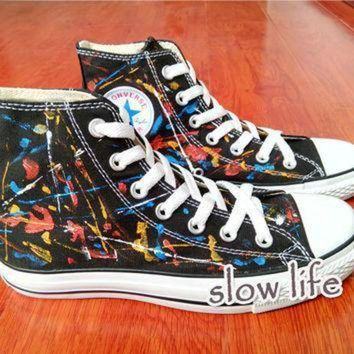 ICIKGQ8 splash ink wind painted shoes converse canvas shoes custom canvas shoes sneakers graff