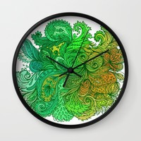 Floral Indian Pattern 01 Wall Clock by Aloke Design