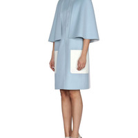 Fendi Double-Wool Cape Coat w/ Contrast Pockets, Light Blue