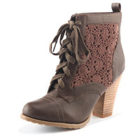 Chocolate crochet laceup boots - Lace up boots - Boots  - Shoes  Boots - Dorothy Perkins
