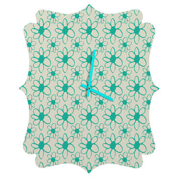 Allyson Johnson Mod Flowers Quatrefoil Clock