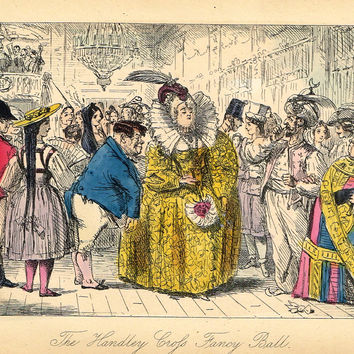 "Antique Satire Print - John Leech's ""THE HANDLEY CROSS FANCY BALL"" - Hand Col Litho - c1860"