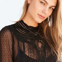 Kimchi Blue Victoria Dotted Mesh Crochet-Neck Blouse - Urban Outfitters