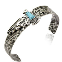 Antique Aztec Carve Eagle Turquoise Navajo Bracelet Bangle Cuff Native American Jewelry