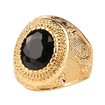 Dubai Gold Plated Man Rings Vintage Jewelry Black Red Ancient Word Engraving Resin Tibet Alloy Wedding Rings For Men