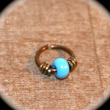 Small Bronze Niobium Cartilage Earrings, 20 22 gauge Turquoise Beaded Nose Ring, Nose Hoop, Helix Hoop, Nose Rings Piercing Jewelry