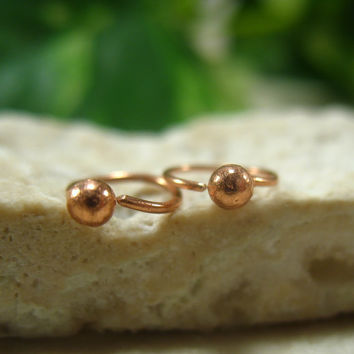 Carilage Hoop Earrings Copper Ball Piercing/Lobe/Cartilage/Helix/Tragus/Rook/Daith/Mens