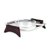 Glo-Hill Tidbit Dish, Glass Insert, Chrome, Red Cherry Bakelite, 1960s Mid-Century