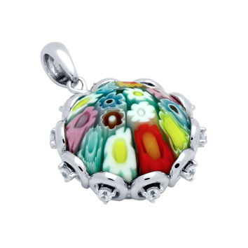"Sterling Silver Multicolor Glass Murano Millefiori Glass Pendant Round Faceted With Cubic Zirconia (Free 18"" Chain)"