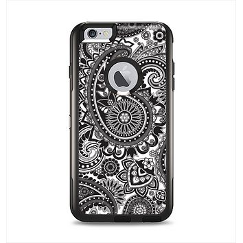 The Black and White Paisley Pattern V6 Apple iPhone 6 Plus Otterbox Commuter Case Skin Set