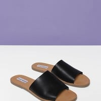 Steve Madden Grace Leather Slip On Sandals - Black