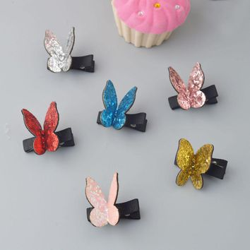 2017 New Kids shining Cartoon Butterfly cute hair clips Newborn Toddlers fashion hairpins Glitter Barrettes Hair Accessories L2