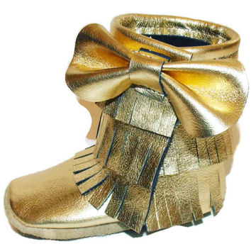 Moccasins Boot Gold Fringe with accent Bow Newborn to Size 8 Valentines