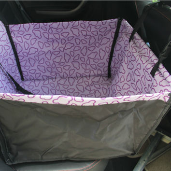 Waterproof Pet Car Seat Cover Dog Travel Mat for Rear Single Seat, Purple Cloud
