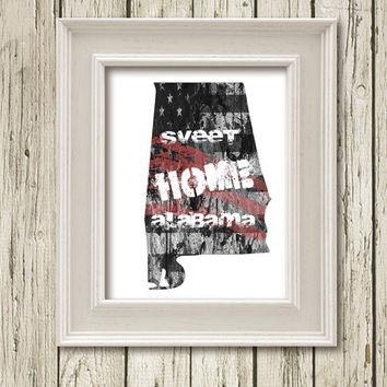 ALABAMA Sweet Home Map Abstract Print Poster Gray Black White Red Home Decor Wall Art  DNGM001