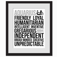 Aquarius Personality Character Traits - Black & White Subway Art Print - Typography Poster - 8 x 10 Wall Decor - Birthday Gift