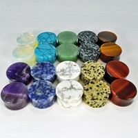~ALL 10 PAIR~ Organic Natural Polished Stone Ear Gauges Plug Tunnel Double Flare