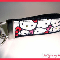 Hello Kitty Key Fob - Wristlet - Keychain - Handmade - Black