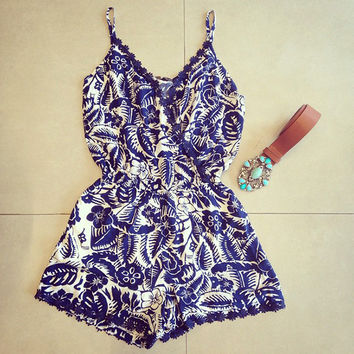 Mini Blue and White Romper