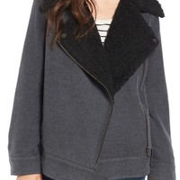 BP. Oversized Faux Shearling Lined Moto Jacket | Nordstrom