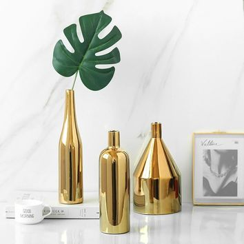 1pc Modern Gold Plated Vase Ceramic Flower Vase Golden Water Planting Container Desktop Decorative Vase
