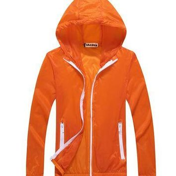 2017 Summer Sunscreen Coat Jacket Unisex Windbreaker Waterproof Thin Hooded Zipper Quick Drying