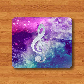 C Clef Symbol Scale Sheet Music Mouse Pad Hipster Galaxy Notes MousePad Black Drawing Desk Deco Rubber Christmas Gift Personalized Handmade