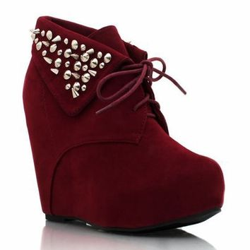 spiked-suede-wedge-booties BLACK BURGUNDY COBALT TAUPE TEAL - GoJane.com